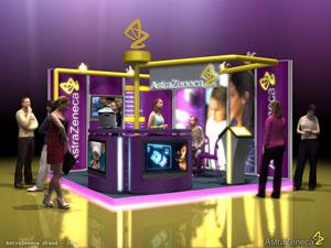 AstraZeneca - Egyedi stand tervezés, standépítés (2010-es terv, onkológiai stand)